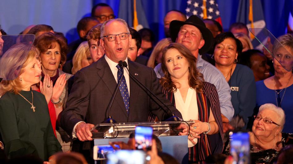 Democratic incumbent Governor John Bel Edwards speaks to a crowd Saturday in Baton Rouge. Edwards defeated Republican challenger Eddie Rispone. (Matt Sullivan/Getty Images)