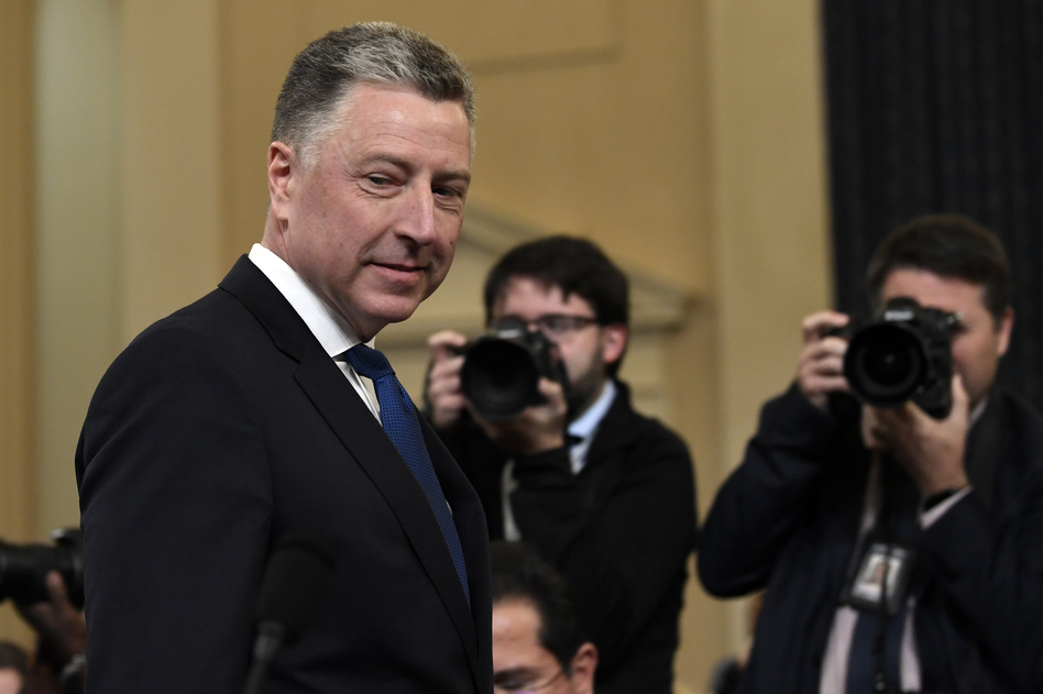 Ambassador Kurt Volker, former special envoy to Ukraine, arrives to testify before the House Intelligence Committee on Capitol Hill on Tuesday. (Susan Walsh/AP)