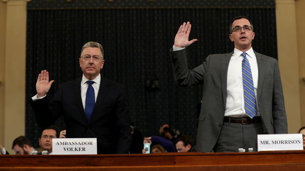 Former State Department special envoy to Ukraine Kurt Volker and former National Security Council Senior Director for European and Russian Affairs Tim Morrison testified before the House Intelligence Committee on Tuesday during the third day of open hearings in the impeachment inquiry against President Trump.