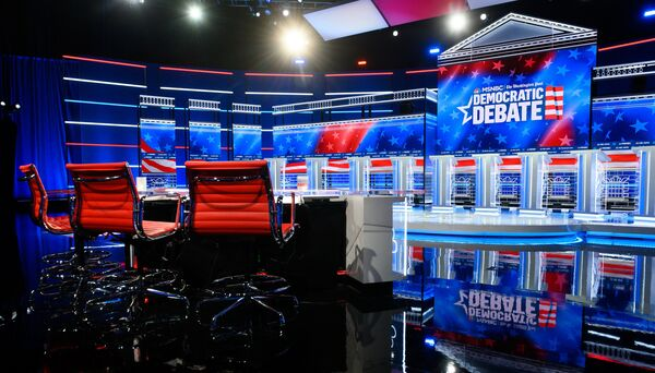 The debate stage is prepared for Wednesday's Democratic presidential primary debate, hosted by MSNBC and The Washington Post, at Tyler Perry Studios in Atlanta.