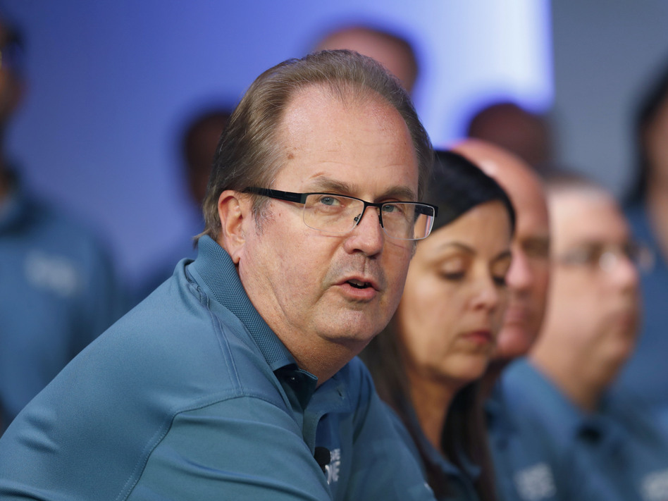 Former United Auto Workers President Gary Jones speaks during the opening of contract talks with Fiat Chrysler Automobiles in Auburn Hills, Mich., in July 2019. Jones resigned Wednesday. (Paul Sancya/AP)