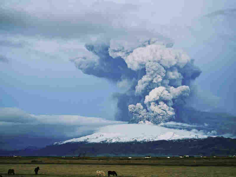 The Eyjafjallajokull volcano erupts, April 16, 2010 in Fimmvorduhals, Iceland. The resulting volcanic ash in the atmosphere over parts of Europe caused major air traffic disruptions for several days.