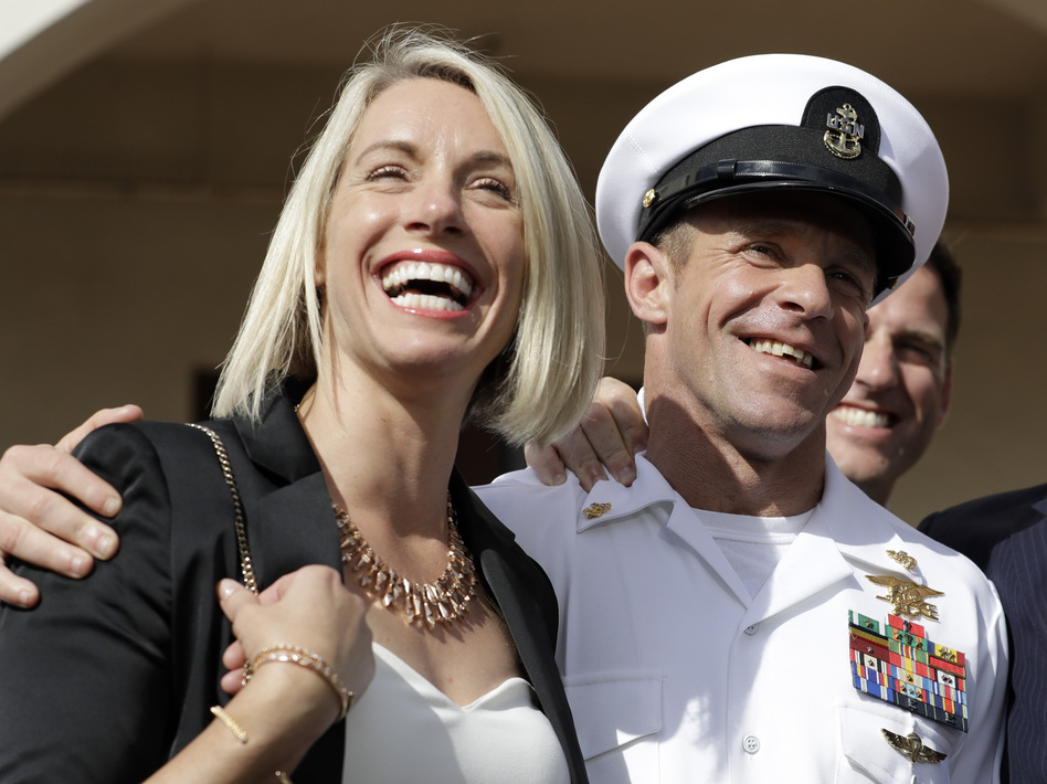 Special Operations Chief Edward Gallagher and his wife, Andrea Gallagher, after the Navy SEAL was acquitted of murder by a military court in San Diego on July 2. (Gregory Bull/AP)