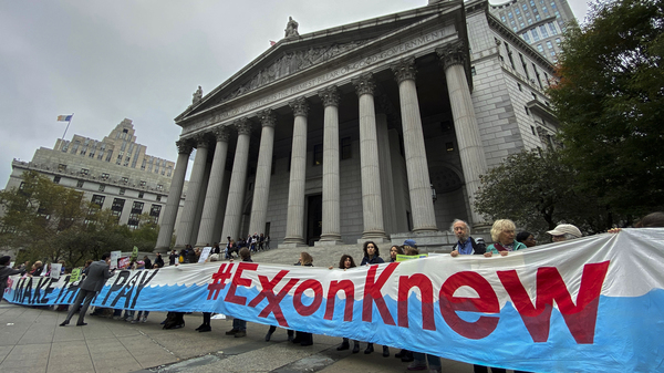 Protesters demonstrate against Exxon Mobil in New York City in October. New York state
