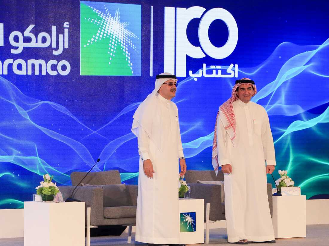 President and CEO of Saudi Aramco Amin Nasser (L) and Aramco's chairman Yasir al-Rumayyan attend a press conference in the eastern Saudi Arabian region of Dhahran on November 3, 2019.