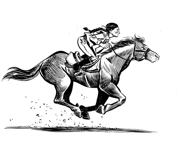 Based on actual events, the graphic novel Grand Theft Horse tells the story of a trainer who rescues a horse from its villainous owner. Journalist Taylor Haney set out to learn how much of the story is true. Above, a scene from the novel.