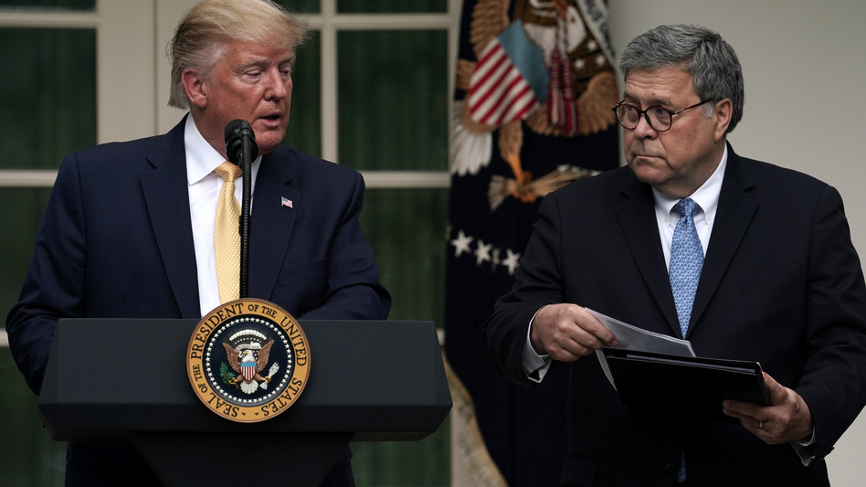 President Trump and U.S. Attorney General William Barr announce the Trump administration's decision to back down from its push for a citizenship question in the White House Rose Garden in July. (Alex Wong/Getty Images)