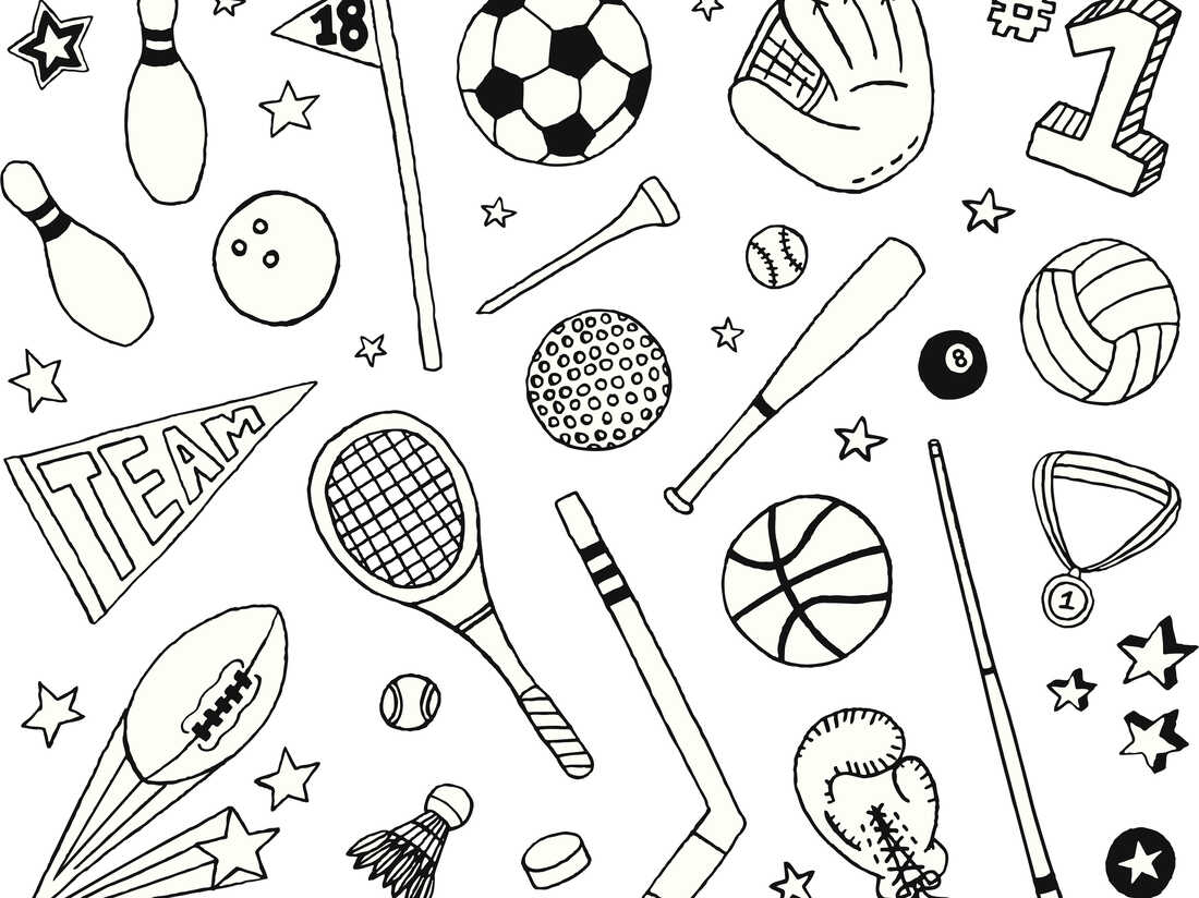 A sports-themed doodle page.