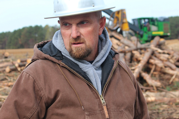 """Jason Tew is a logger in eastern North Carolina. """"The landowner is getting some value [from wood pellets], we're getting some production, it's just an all-round good deal,"""" he says."""