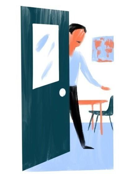 Teacher opens the door.