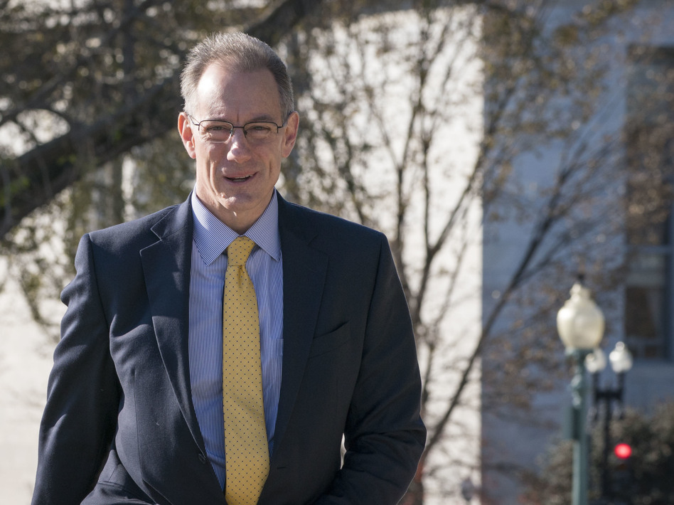 Mark Sandy, from the Office of Management and Budget, arrives to the U.S. Capitol earlier this month for a deposition regarding whether President Trump ordered a hold on military assistance to Ukraine. (Sarah Silbiger/Getty Images)