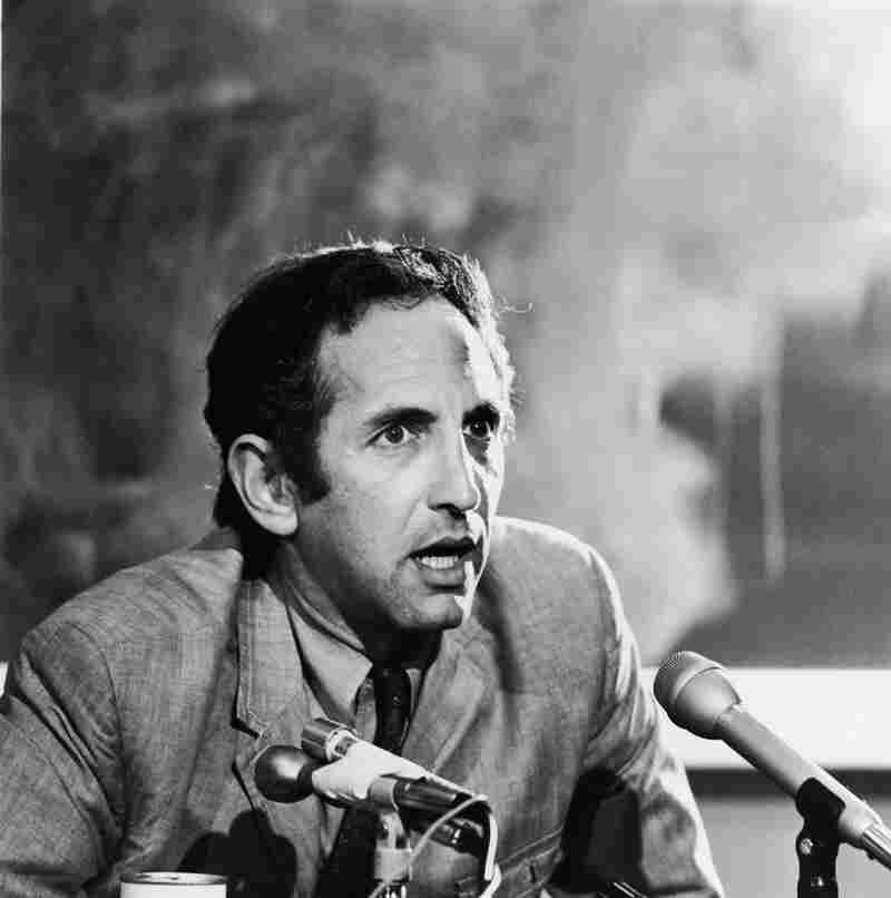 "American author Daniel Ellsberg speaks at a press conference in the 1970s. He leaked ""The Pentagon Papers,"" which revealed that President Lyndon B. Johnson's administration had repeatedly lied to Congress and the public about the Vietnam War."