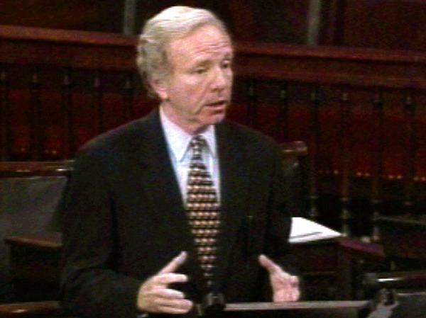 Sen. Joe Lieberman, D-Conn., during his Senate floor speech criticizing President Clinton in Sept. 1998 for the Lewinsky scandal — while Clinton was overseas, in Ireland.