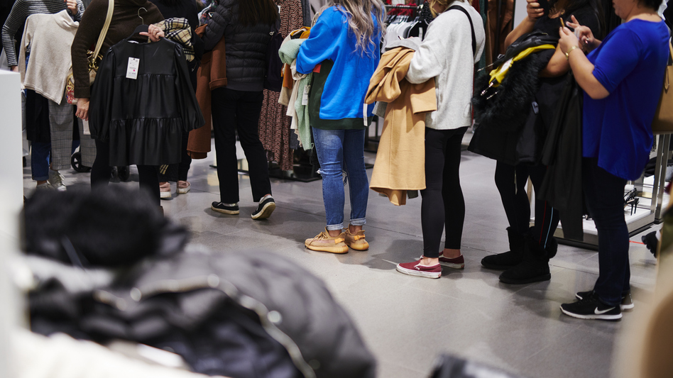 Customers stand in line at a Zara store on Black Friday in Paramus, N.J., on Friday. (Bloomberg via Getty Images)