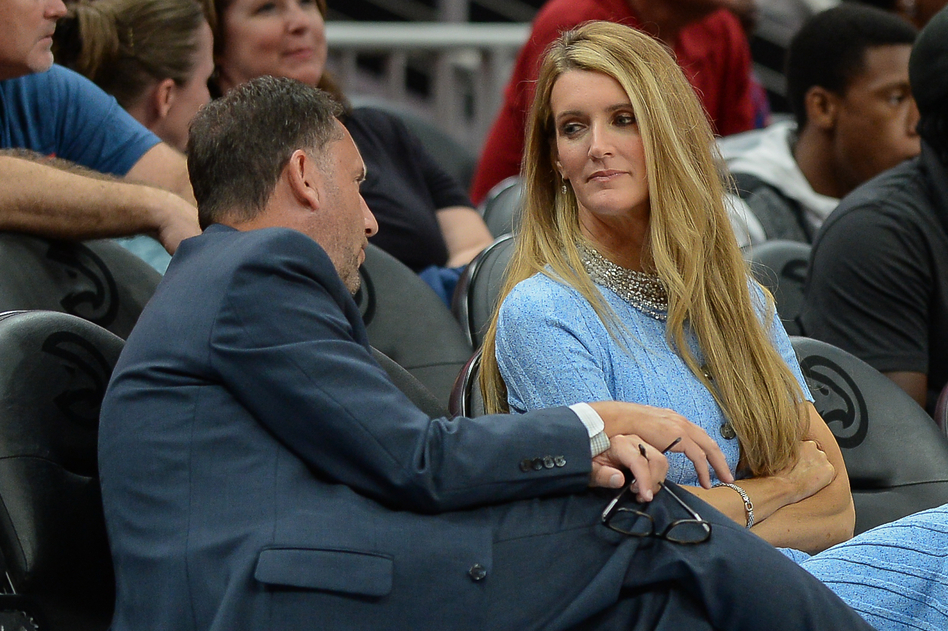 Georgia Gov. Brian Kemp plans to announce that he is naming Kelly Loeffler (right) as the state's next U.S. senator, replacing Johnny Isakson, who is stepping down for health reasons. Loeffler is an owner of the Atlanta Dream WNBA team and is shown here during a September game. (Rich von Biberstein/Icon Sportswire via Getty Images)