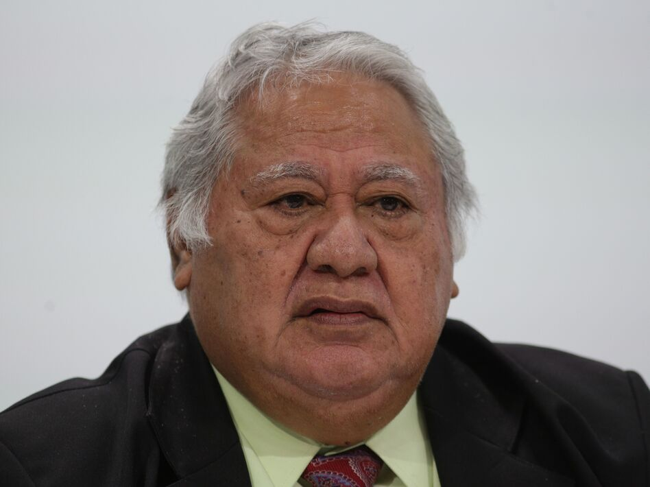 """Samoa's Prime Minister Tuilaepa Sailele Malielegaoi, pictured in 2018, pleaded with the public not to turn to """"alternative cures"""" for measles. (Daniel Leal-Olivas/AFP via Getty Images)"""