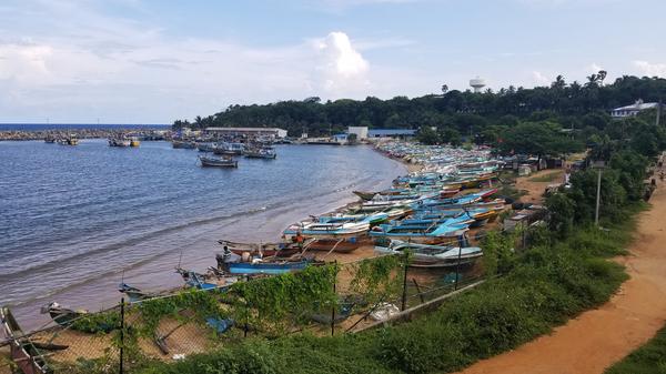 China has built a massive international shipping port a few miles from the old fishing port of Hambantota, Sri Lanka.