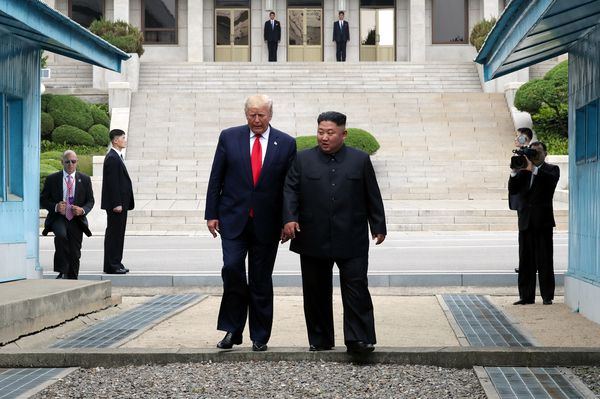 North Korean leader Kim Jong Un and U.S. President Donald Trump met inside the demilitarized zone separating South and North Korea in June.