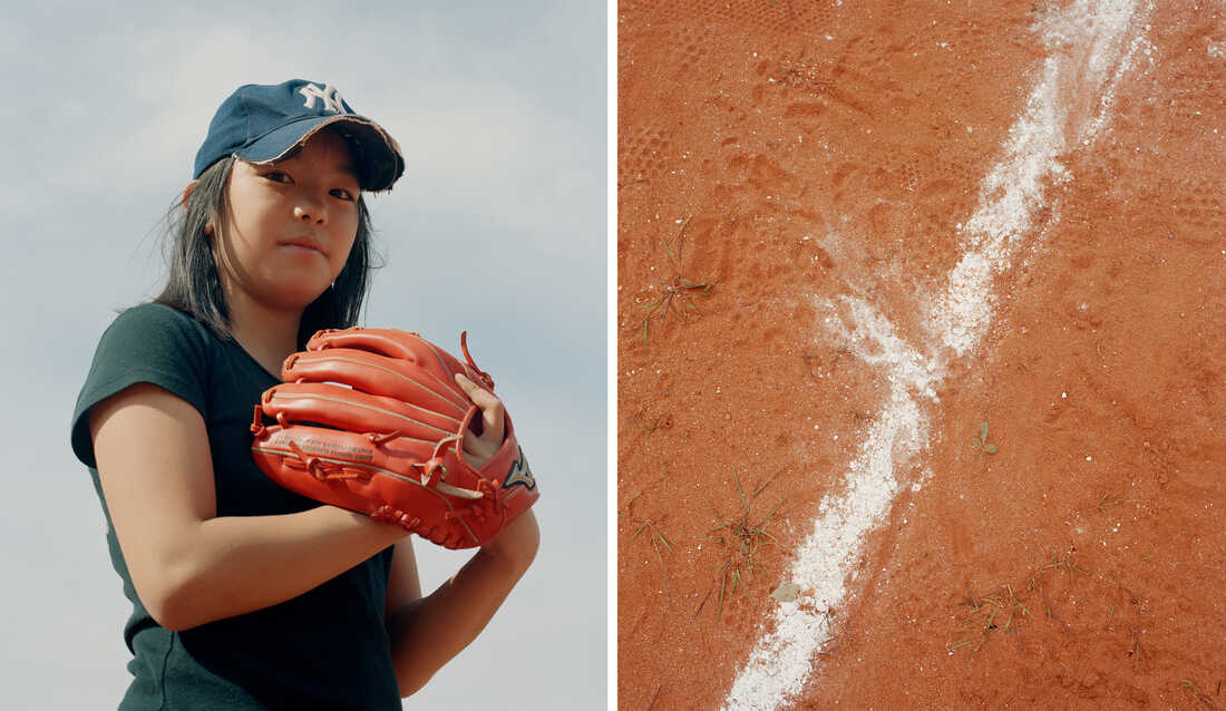 Left: A child wears a baseball cap and glove. Right: The chalk line on a baseball diamond is smudged.