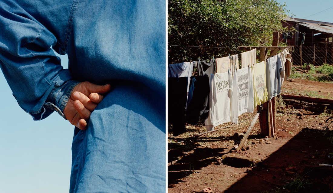 Left: A hand is placed on a hip of a person wearing all blue standing against a blue background. Right: Laundry hangs on a clothesline.