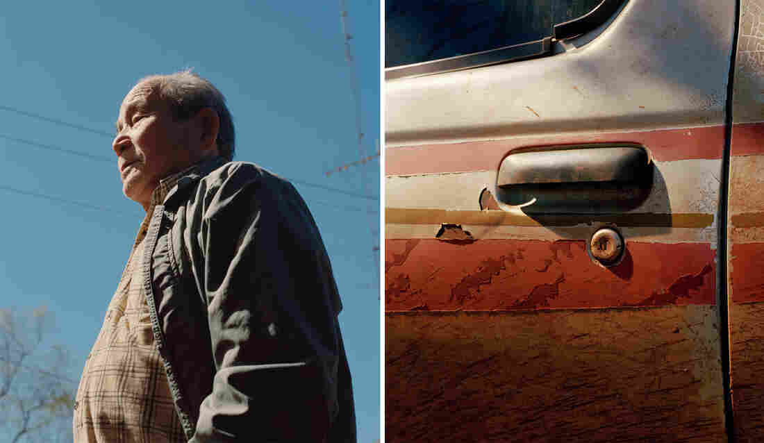 Left: A portrait of an older man. Right: A detail of an older car door covered in red dirt.