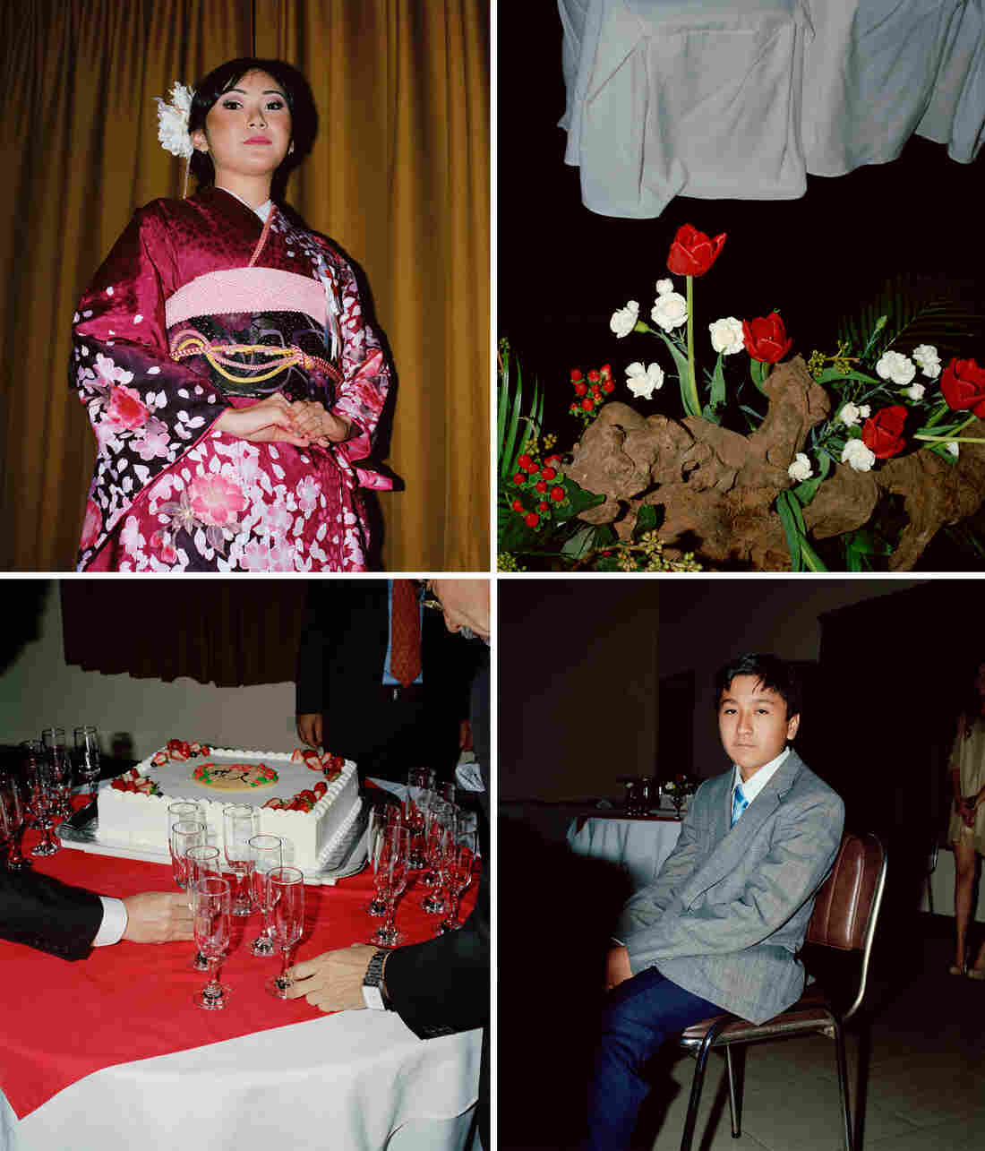 Clockwise from top left: A woman wears a pink kimono. Red and white flowers are an ikebana arrangement. A teenage boy sits at a formal party. Men gather champagne flutes next to a white cake.