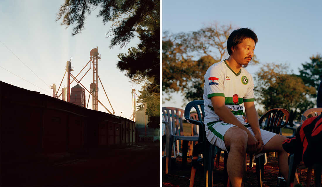 Left: Silos are seen behind a wall. Right: A man wearing a soccer jersey sits in a plastic chair as the sunsets.
