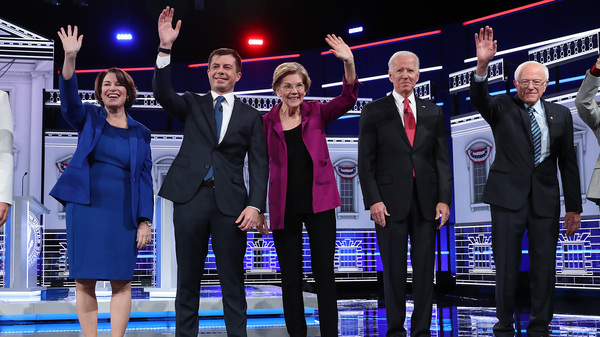 Democratic presidential candidates (L-R) Sen. Amy Klobuchar, Mayor Pete Buttigieg, Sen. Elizabeth Warren, former Vice President Joe Biden, and Sen. Bernie Sanders, on stage before the start of the November Democratic Presidential Debate in Atlanta, Ga.