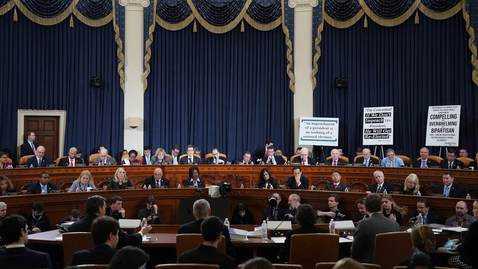 Members of the House Judiciary Committee listen as constitutional scholars testify before the House Judiciary Committee on Capitol Hill Wednesday. (Drew Angerer/Getty Images)