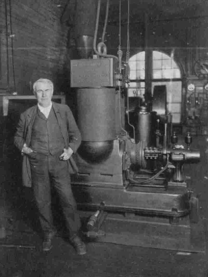 Thomas Edison, with his dynamo for producing electricity. In 1882, in Lower Manhattan, Edison opened the first commercial power station in the U.S. which operated on the DC (direct current) system.