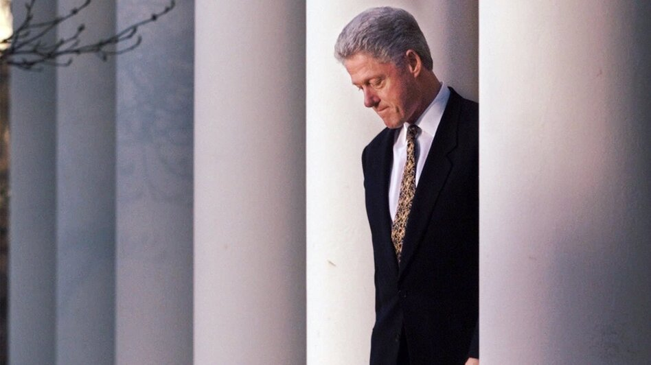 President Clinton in the Rose Garden of the White House on Dec. 11, 1998, before delivering a statement on the impeachment inquiry. (J. Scott Applewhite/AP)