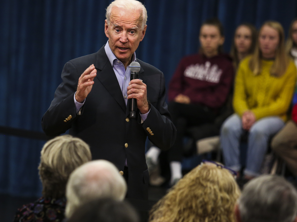 "Former Vice President Joe Biden at a town hall last month in New London, N.H. On Thursday, Biden got into a heated exchange with an Iowa voter, calling the man a ""damn liar."" (Erin Clark for The Boston Globe via Getty Images)"