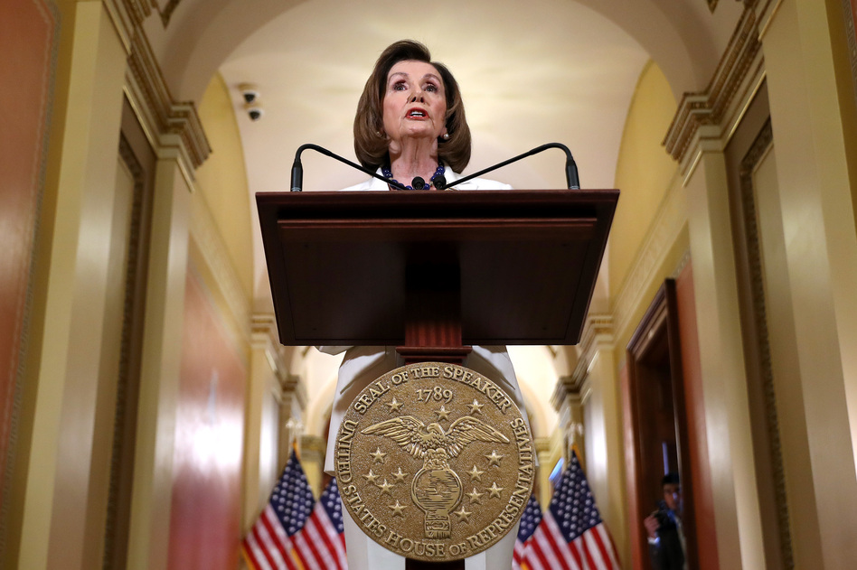 House Speaker Nancy Pelosi, D-Calif., announced at the Capitol on Thursday that the House is drafting articles of impeachment against President Trump. (Chip Somodevilla/Getty Images)