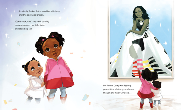 An illustration of two girls looking up at a portrait of Michelle Obama from the children's book Parker Looks Up.