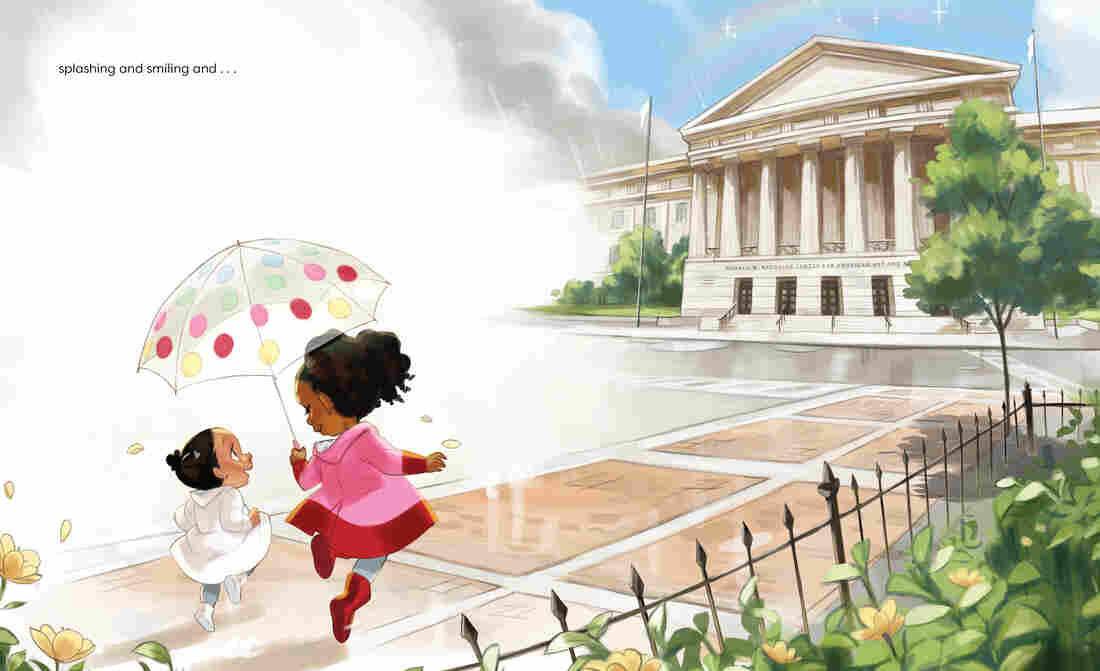An illustration of two girls approaching the Portrait Gallery in Washington, D.C., from the children's book Parker Looks Up.
