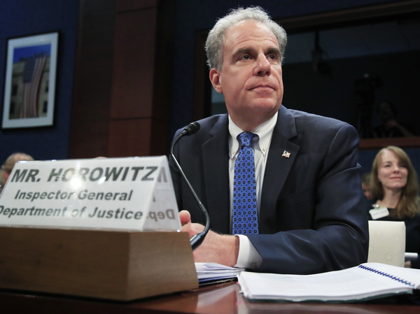 Justice Department Inspector General Michael Horowitz testifies before Congress last year. His report about the Russia investigation is expected on Monday.