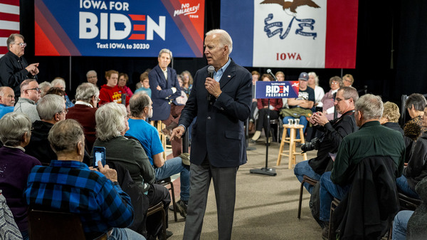 Former vice president and 2020 presidential candidate Joe Biden speaks to Iowans at Johnson