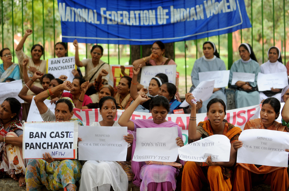 Activists demonstrated against virginity tests in New Delhi in 2009. (Raveendran/AFP/Getty Images)