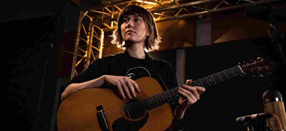 Molly Tuttle inside the World Cafe Performance Studio