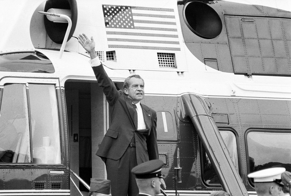President Nixon waves outside the White House after his farewell address Aug. 9, 1974. (Chick Harrity/AP)