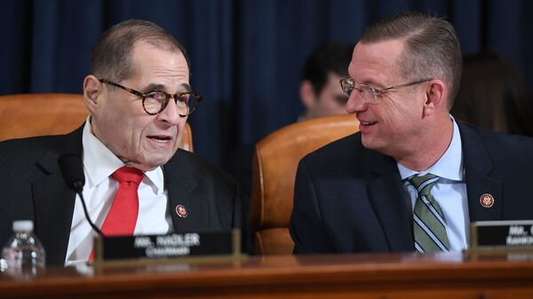 House Judiciary Chairman Jerry Nadler, D-N.Y., speaks with ranking member Doug Collins, R-Ga., at Monday's impeachment hearing.