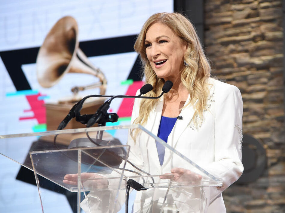 The new Recording Academy president and CEO, Deborah Dugan, speaking at the 62nd Grammy Awards nominations on Nov. 20 in New York City. (Jamie McCarthy/Getty Images)