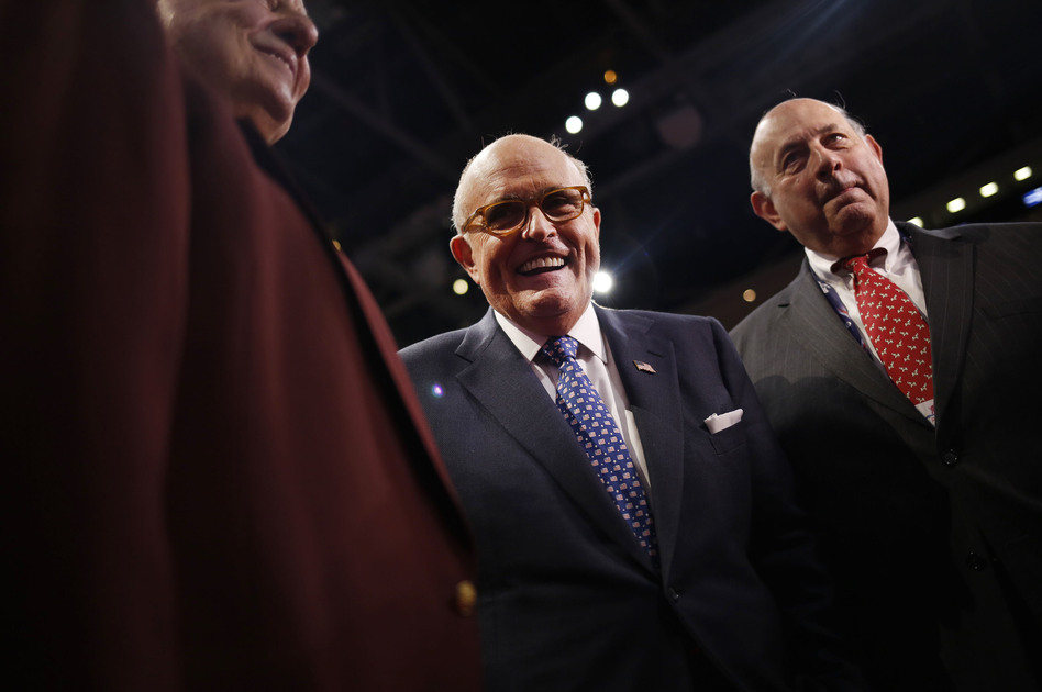 Rudy Giuliani, former mayor of New York, smiles during the Republican National Convention in Cleveland on July 18, 2016. (John Taggart/Bloomberg via Getty Images)