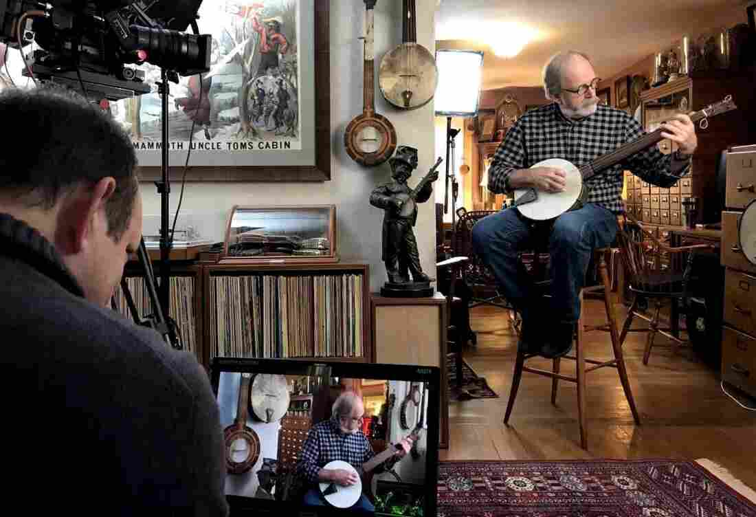 Marc Fields and his team films an interview at Jim Bollman's house in Arlington.