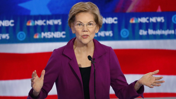 Democratic presidential candidate Elizabeth Warren speaks during last month