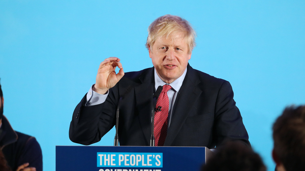 Prime Minister Boris Johnson speaks to party supporters after his Conservative Party
