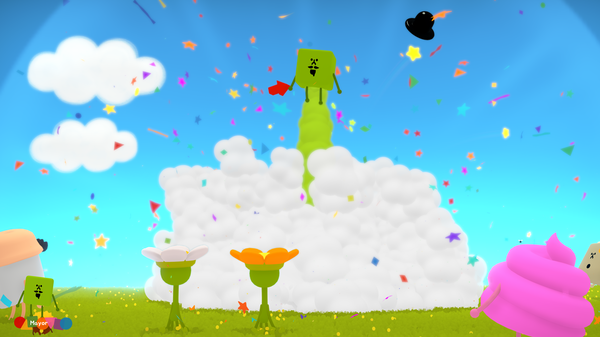 "The Mayor, a green cube with a top hat, goes ""kaboom"" in Wattam."