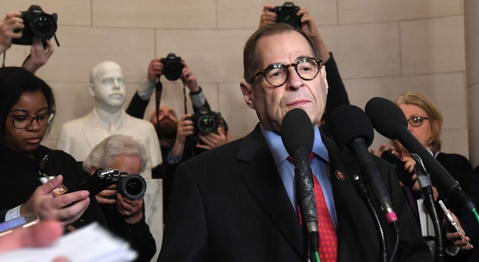 House Judiciary Chairman Jerry Nadler, D-N.Y., speaks to the media on Friday. His committee has released a report on the articles of impeachment against President Trump, ahead of a vote by the full House. (Saul Loeb/AFP via Getty Images)