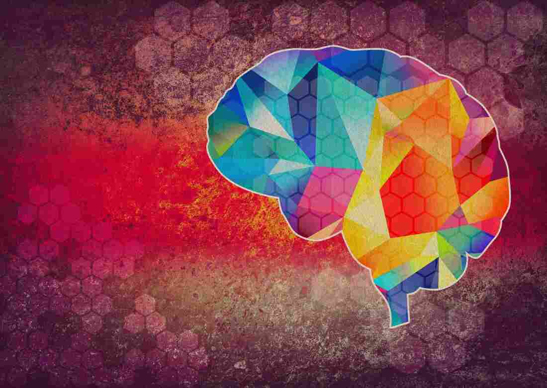 Colourful abstract graphic illustration of brain