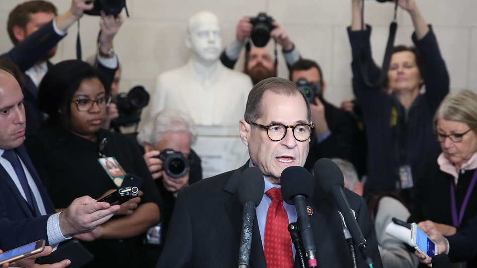House Judiciary Committee Chairman Jerry Nadler speaks to the media after the committee voted on the two articles of impeachment against President Trump on Dec. 13. (Mark Wilson/Getty Images)